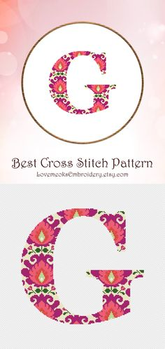 "This is modern cross stitch pattern of ""Folk Letter G"" for instantly downloadable after purchase, so you can start stitching right away! Embroider with pleasure and decorate your house with your beautiful works! Design 53. DMC colors: 8, 134 stitches wide x 126 stitches high"