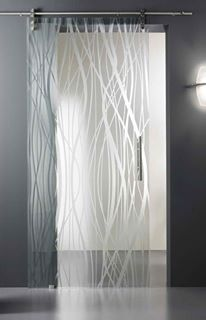 Acid Etched Glass Doors  These modern Acid etched doors are piece of art from special glass working techniques and patented Madras – a chemical process for glass satin-finishing and decorating. The doors are full glass, super elegant and modern looking, while that sleek metal rail gives it an industrial edge. Wonderfully detailed and silky to the touch, these acid etched doors are the perfect solution for maximizing light while separating spaces and maintaining privacy.