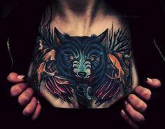 Wolf chest piece. #tattoo #tattoos #ink