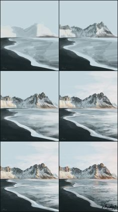 How to paint sandy black beach scene. Digital Painting of Iceland volcanic beach with mountains in the background. Environment concept art drawing process reference step by step guide. Digital Painting Tutorials, Digital Art Tutorial, Art Tutorials, Digital Paintings, Concept Art Tutorial, Step By Step Painting, Painting Techniques, Painting & Drawing, Painting Wallpaper
