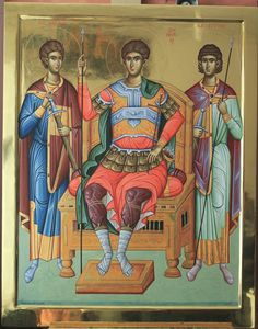 Demetrios the Great Martyr and Myrrhstreamer, depicted with his disciples, Sts. Nestor and Loupos the Martyrs. Byzantine Icons, Byzantine Art, Biblical Art, Russian Orthodox, Religious Icons, Saint George, Orthodox Icons, Day Book, Art Dolls