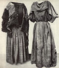 """Women's clothing from the swamps in the Huldremose in Denmark-unfortunately, the date is """"the iron age""""... (L) garment is wool, woven... """"Cape"""" was probably lamb... (R) garment is wide """"scarf"""" together only at the neck with a skewer from bird bones. (I see something similar to the (R) garment, made with towels, in the shower houses. )"""