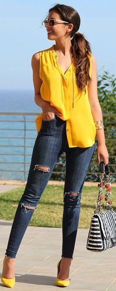#summer #trending #outfits | Yellow + Denim