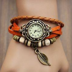 New Arrivals Genuine Leather Hand Knit Vintage Watches,bracelet Wristwatches Leaf Pendant