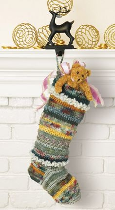 Crocheted Christmas Stockings - Using Grace Kaplan's variations on a simple stocking pattern, you can crochet fabulous Christmas stockings for everyone on your gift list. Different yarn sizes, weights, and textures change the look of the basic single crochet design, giving each stocking its own personality and flair. Added embellishments -- appliquˆs, beads, bells, and bows -- offer more options for creating unique stockings that everyone will love.   15 stockings: Baby's First Stocking…