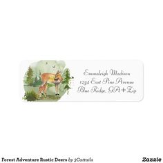 Shop Forest Adventure Rustic Deers Label created by Personalize it with photos & text or purchase as is! Custom Address Labels, Return Address Labels, Forest Adventure, Blue Ridge, Forest Mountain, And So The Adventure Begins, Baby Deer, How To Be Outgoing, Customized Gifts