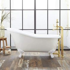 Buy the Signature Hardware 144838 White / White Feet Direct. Shop for the Signature Hardware 144838 White / White Feet Erica Cast Iron Clawfoot Tub with Imperial Feet and Rolled Rim and save. Guest Bathrooms, Dream Bathrooms, Master Bathroom, Master Master, Small Bathrooms, Beautiful Bathrooms, White Bathroom, Small Rooms, Bathroom Interior