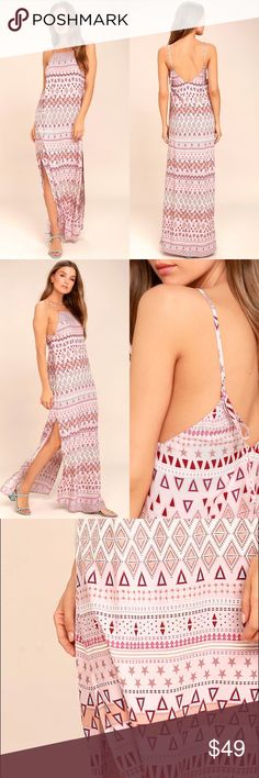 ✨NWT✨ Mosaic Days Blush Pink Print Maxi ⭐️Item is wait-listed on Lulu's.   • Unlined • 100% Rayon  • Hand Wash Cold  Add a little vacay to your everyday with the Mosaic Days Blush Pink Print Maxi Dress! Woven rayon, with a burgundy, blue, beige, and pink print, shapes an apron neckline with spaghetti straps that adjust and tie at back. Breezy maxi skirt has twin side slits. Hidden side zipper.  Modeled pictures of actual item to follow.  ✨Will price match if Lulus' has a current discount…