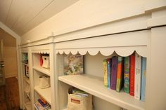 Scallop details on this beautiful custom child's bookcase Kids Bookcase, Custom Cabinetry, Loft, Shelves, Bed, Furniture, Beautiful, Design, Home Decor