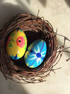 Two Hand Painted Wooden Eggs / by aniadesigns on Etsy