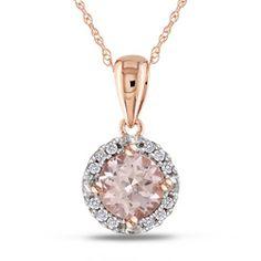 Miadora 10k Pink Gold Morganite and 1/10ct TDW Diamond Necklace (G-H, I2-I3)