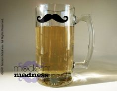 Moustache Beer Mug  Variety of Colors and Styles by modernmadness, $12.00