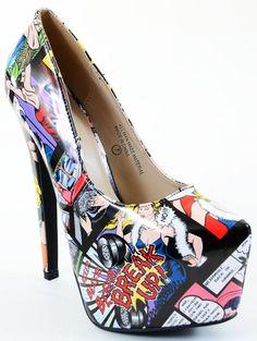 Comic print Break up Almond Toe Stiletto Heel Shoes Fancy Shoes, Pretty Shoes, Hot Shoes, Crazy Shoes, Beautiful Shoes, Me Too Shoes, Shoes Heels, High Heels, Platform Stilettos