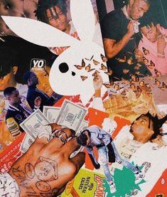 PLayboi Carti in a collage Rapper Wallpaper Iphone, Hype Wallpaper, Trippy Wallpaper, Iphone Background Wallpaper, Retro Wallpaper, Aesthetic Pastel Wallpaper, Aesthetic Wallpapers, Bedroom Wall Collage, Photo Wall Collage