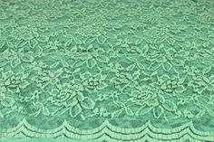 Seafoam Lt Scalloped Lace Fabric by the Yard Wedding Bridal Craft Lace Material Cotton Seafoam Lt Lace Fabrics - 1 Yard Style 312