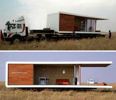 """Promising """"a headache-free process with cutting edge design"""", the Zenkaya all-in-one prefabricated home can be shipped to your choice of location on the back of a truck. Nearly all of the setup takes place at the factory, so once it's delivered, moving in is a snap. Available in studio, one bedroom and two bedroom models, the Zenkaya is designed to bring the outdoors in, with floor-to-ceiling glass windows that provide panoramic views of the scenery.  #prefab #modular #pods"""