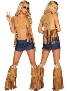 4 Pieces Halloween Costume Outfit Sexy Adult Hippie Chic Retro Costume With Legwears+ Vest+ Top+ Skirt L12107