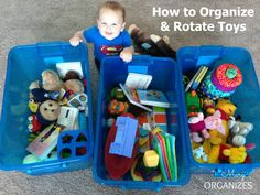 Toy Rotation System - simple but it works! It doesn't have to be hard to be organized. Divide the toys into groups with a good variety in each