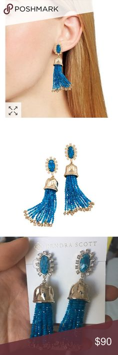611ac311e Kendra Scott Decker Earrings Steal the show with the Decker Statement  Earrings in Aqua Apatite, featuring crystal accents and strings of genuine  stone beads ...