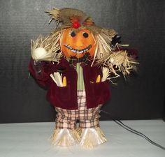Fiber Optic Color Changing Pumpkin Scarecrow Halloween Decoration