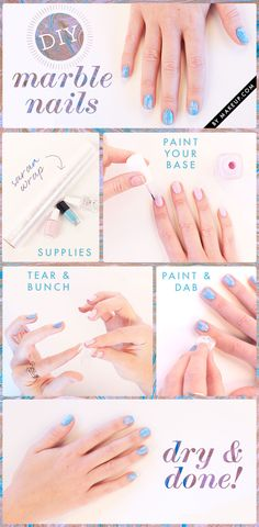 How to: marble nails manicure. You'll need: 2 nail polish colors, plastic wrap, and top coat.