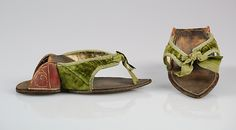 Pattens, early 18th century, British, leather, silk