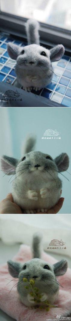 Needle felted chinchilla 羊毛毡 - 堆糖 发现生活_收集美好_分享图片