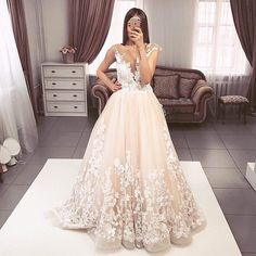 A-Line Round Neck Sweep Train Tulle Wedding Dress with Appliques Tulle Wedding, Wedding Dresses, Chromatic Aberration, Modern Colors, Up Styles, Image Shows, View Photos, Light Colors, Hemline
