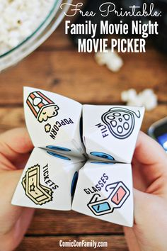 """Add even more fun to family movie night with this FREE Printable Movie Picker! Inspired by the classic """"fortune teller"""" or """"cootie catcher"""" games of our youth, this idea is a whole new twist!"""