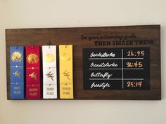 Swimming ribbons personal record board Swim Team Mom, Swim Mom, Swim Ribbons, Ribbon Boards, Kids Awards, Ribbon Display, Senior Night Gifts, Kids Bedroom Boys