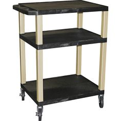 "H. Wilson Tuffy Plastic 34"" 3 Shelf Utility Cart 34 Black"