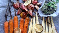 Ovnsbakte grønnsaker med bønnepesto