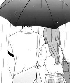 Under the umbrella on a rainy day