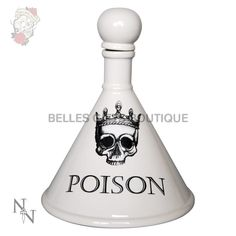 This Glazed Poison decanter is the perfect talking point for your parties. Classic crowned skull design poison flask for budding alchemists Secure cork stopper Approx tall x at base Cork Stoppers, Skull Design, For Your Party, Decanter, Drinkware, Decorative Bells, Flask, Tumbler, Carafe