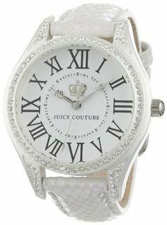 Juicy Couture Women's 1900744 Lively White Leather Strap Watch Juicy Couture. $188.95. Quartz movement. White Ion-Plating case with Swarovski crystals. Water-resistant to 99 feet (30 M). Durable mineral crystal protects watch from scratches. Case diameter: 40 mm. Save 24%!