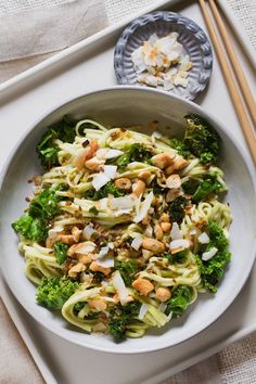 """food52: """"What I would give to have this in front of me right now. f0o0od: """"avocado green curry noodles with toasted coconuts and cashews """" """""""