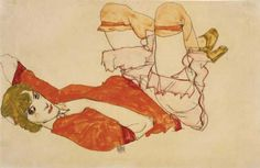 Wally with a Red Blouse by Egon Schiele