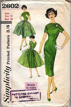 Vintage Simplicity Pattern For A Misses' Dress And Over skirt | eBay