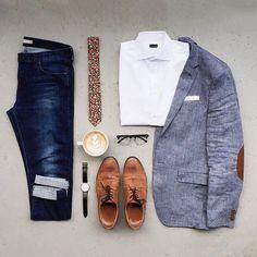 Elbow pad blazer, flower pattern tie, jeans
