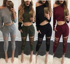 Womens Winter Bodycon Playsuit Jumpers Party Romper Pants Long Jumpsuit Trousers #Jumpsuit