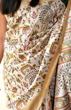 Warli Handwoven Tussar Silk Saree