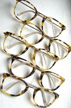 48ef11d15db0 14k GF Panto Hornrim eyeglass frames in Antique Tortoise. 80 s vintage.