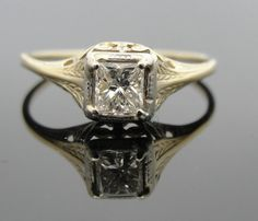 Art Nouveau Green Gold and Diamond Engagement Ring by MSJewelers, $785.00