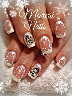 Xmas Nail, Snowman Nail, Christmas french nail