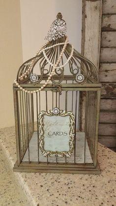 Rustic Vintage Style Birdcage Wedding Card Box