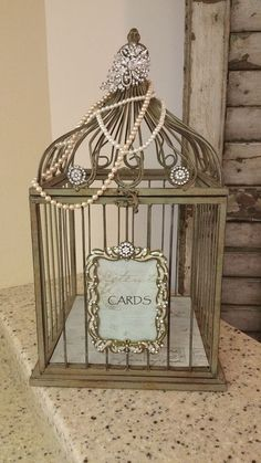 Rustic Vintage Style Birdcage Wedding Card Box