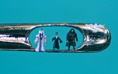 Willard Wigan's amazing micro art - Harry Potter These artworks are breathtaking and so small. He makes them with grains of sand and paints them with the hairs on a fly.