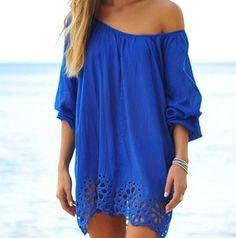 Blue sundress / coverup. Off the shoulder