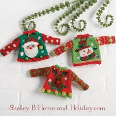 Ugly Christmas sweater ornament set. Find more sweater ornaments at Shelley B Home and Holiday