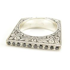 Engraved silver European square shank ring with black diamonds on Etsy, $270.00